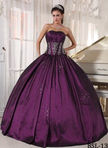 Pretty Strapless Quinceanera Gown Dress with Embroidery and Beading