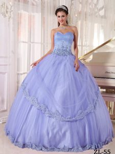 Lilac Sweetheart and Tulle Quinceanera Dress with Appliques on Sale