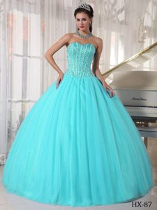 Simple Sweetheart Tulle Quinceanera Dresses with Beading on Wholesale Price