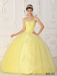 Light Yellow Sweetheart and Organza Quinceanera Dress with Appliques