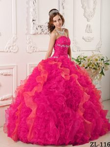 Sweetheart Organza Quinceanera Dresses with Appliques and Beading Decorated