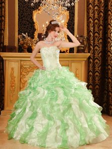 Apple Green Sweetheart Organza Quinceanera Dress with Beading and Ruffles