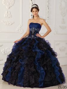 Blue and Black Strapless and Organza Quinceanera Dress with Beading