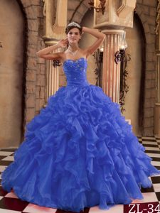 New Royal Blue Sweetheart Organza Sweet 16 Quinceanera Dresses with Ruffles