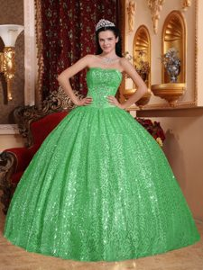 Green Sweetheart Quinceanera Dress with Beading and Sequins for Custom Made