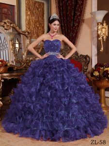 2014 Dark Purple Sweetheart Organza Beaded Quinceanera Dress for Custom Made