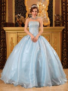 Light Blue Strapless Organza Beaded Quinceanera Gown Dress on Wholesale Price
