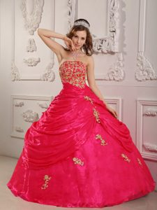 Strapless Organza Sweet Sixteen Quinceanera Dress with Appliques on Promotion