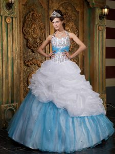 White and Blue Halter Top Beaded Quinceanera Gown Dresses on Wholesale Price