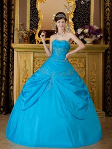 Blue Strapless Ruched Quinceanera Dress with Appliques on Promotion