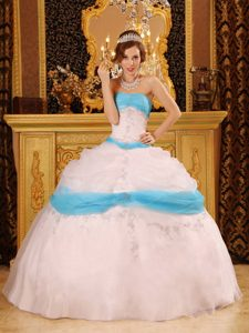 Perfect Strapless Pink and Blue Quinceanera Dress with Appliques for Cheap