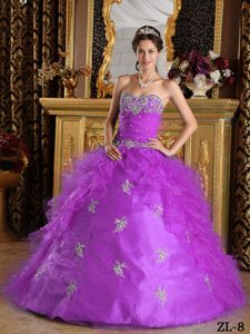Purple Sweetheart Organza Quinceanera Dress with Ruffles on Wholesale Price