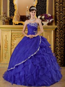 Beautiful Blue Strapless Organza Appliques Decorated 2014 Quinceanera Dress
