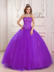 Elegant Strapless Tulle Beaded Purple Sweet 16 Quinceanera Dresses for Cheap