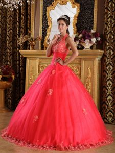 New Halter Top Tulle Quinceanera Dress with Appliques Decorated on Promotion