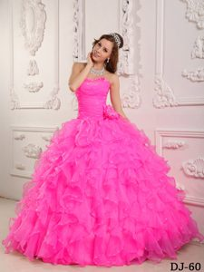 Romantic Sweetheart Organza Beaded Hot Pink Quinceanera Gown Dress in 2013