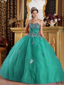 Sweetheart Tulle Quinceanera Dress with Appliques Decorated for Custom Made