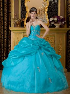 Sweetheart Organza Quinceanera Dresses with Appliques and Pick-ups for Cheap