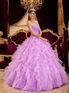 Pretty Lavender Sweetheart Organza Quinceanera Dress with Beading and Ruffles