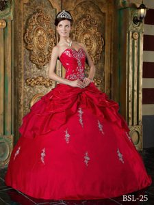 2013 Magnificent Red Lace-up Dresses for Quinceaneras with Appliques