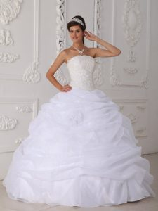 Charming Strapless Long Organza and Lace White Dress for Quinceanera