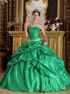 Beautiful Green Ruched and Beaded Lace-up Fall Dress for Quince under 250