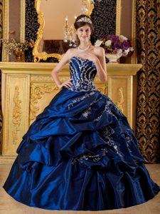 Fabulous Navy Blue Sweetheart Long Quinceanera Gown Dresses