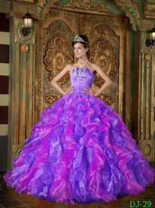 Strapless Beaded Lace-up Purple Organza Quinceanera Dresses with Ruffles
