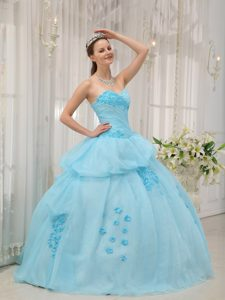 Sweet Light Blue Sweetheart Organza Quince Dresses with Appliques for Spring