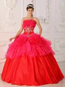Luxurious Lace-up Red Organza Quinceanera Dresses