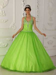 Impressive Spring Green A-line Halter Long Tulle Quinceanera Dresses