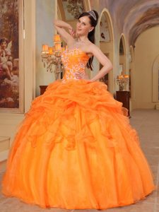 Magnificent Orange Red and Organza Summer Dress for Quinceanera