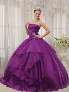 Charming Ruched and Beaded Purple Dresses for Quince with Lace-up Back