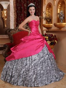Fashionable and Zebra Beaded Spring Dress for Quinceanera in Hot Pink