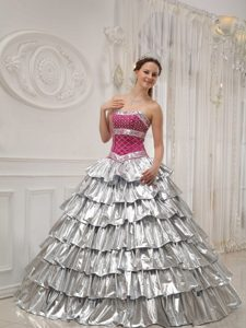 Gorgeous A-line Satin and Silver and Fuchsia Sweet 16 Dresses for Fall