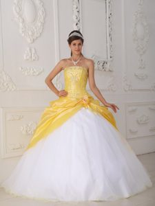 Popular Organza and Appliqued Quinceaneras Dress in Yellow and White