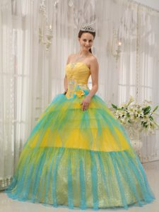Exquisite Yellow and Blue Ruched and Beaded Quinceanera Gown Dress for Fall