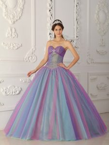 Fabulous Sweetheart Long Beaded Tulle Quinceanera Gown in Multi-color
