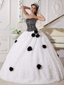 Magnificent White and Black Dress for Quinceaneras