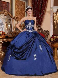 Navy Blue Sweetheart Long Lace-up Satin Summer Dresses for Quince