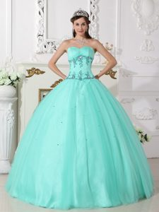 and Beaded Long Sweet Sixteen Quinceanera Dress in Light Green