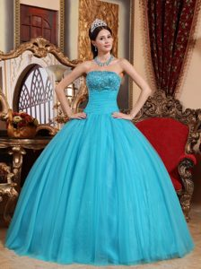 Special Strapless Embroidered Beaded Tulle Sweet Sixteen Dress in Aqua Blue