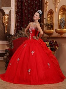 Classical Appliqued Red Organza Sweet 15 Dresses with Pick-ups under 250