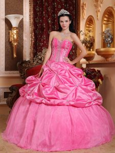 Gorgeous Rose Pink Sweetheart Long Quinceaneras Dresses