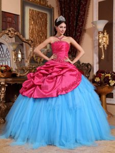 Popular Red and Blue Ruched and Beaded Lace-up Quinceanera Gowns for Fall