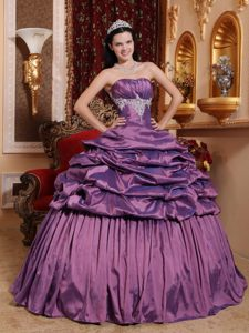 Exquisite Strapless Long Appliqued Quinceanera Gown in Purple