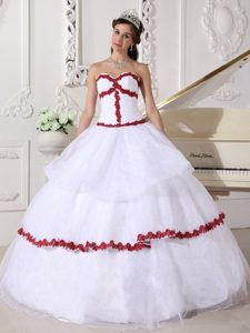 New Sweetheart Long Organza Quinces Dresses in White and Wine Red