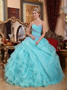 Discount Baby Blue Appliqued and Ruched Quinceanera Dresses for Summer