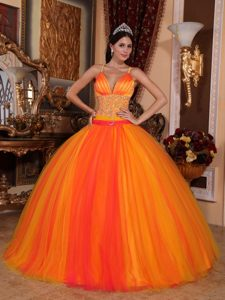 Sweet V-neck Long and Tulle Quinceanera Dress in Orange Red