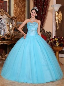 Baby Blue 2013 Attractive Ruched and Beaded Long Dress for Quinceaneras